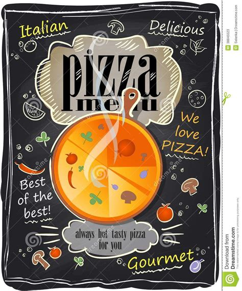 vintage chalk pizza menu stock vector image of chalk