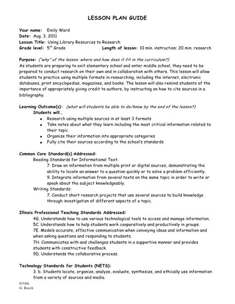 4th Grade Research Paper Lesson by Research Project Lesson Plan