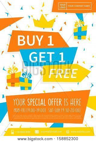 design poster buy promotion banner buy 1 get 1 free vector photo bigstock