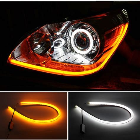 Led Light Strips Cars 2pcs 60cm White Yellow Led Car Light 12v Led Ambient Lighting Car Light
