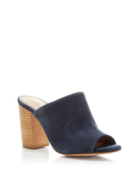 slide high heel sandals splendid birch slide high heel sandals in blue navy lyst