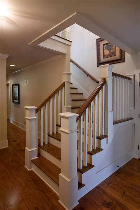 Interior Handrails L Shaped Stair With Painted Balusters And Risers And
