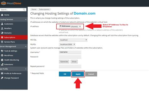 assigning dedicated ip address to a domain in plesk