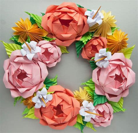 Origami Paper Wreath - pink and yellow dahlia origami paper wreath