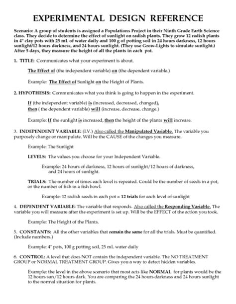 printables experimental design worksheet ronleyba