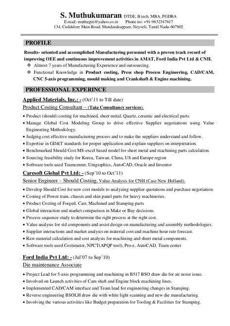 Automotive Design Engineer Description by Resume Muthu Automobile Product Costing 7years