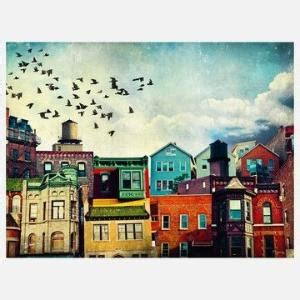 colorfu houses painting inspiration for diy canvas painting