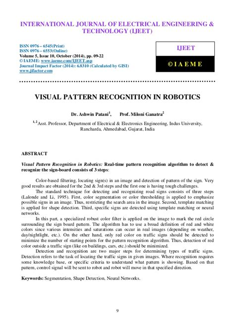 pattern recognition education visual pattern recognition in robotics