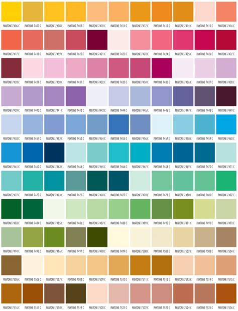 color standards pms color chart