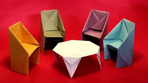 How To Make Paper Table - how to make table and chairs with paper crafts easy