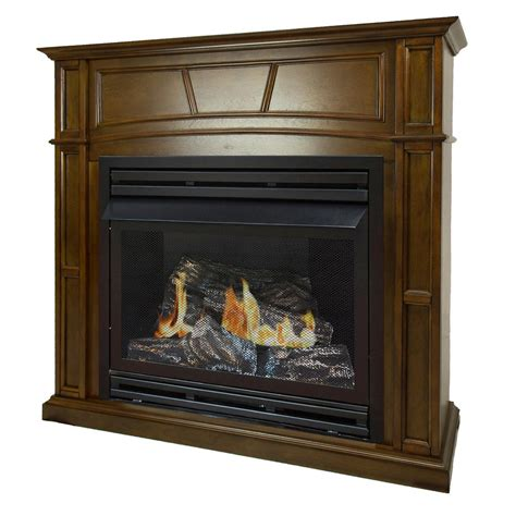 ventless gas fireplace emberglow 43 in convertible vent free dual fuel gas fireplace in cherry vff26nlm the home depot