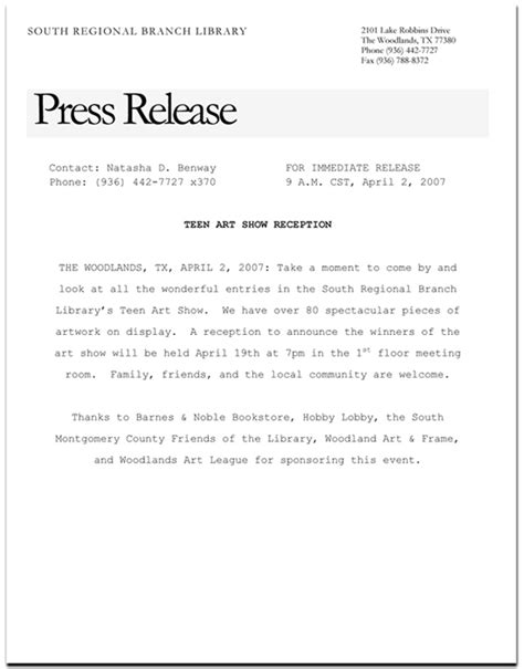 press release template sle press release exles 9