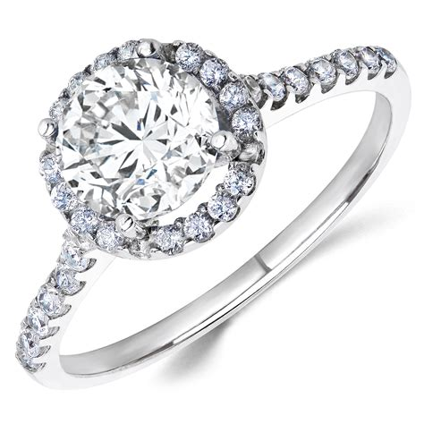 14k white gold white cz halo engagement ring 1 ct