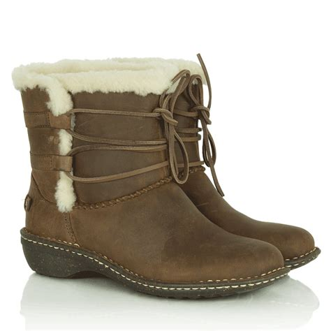 ugg 174 rianne s brown sheepskin suede ankle boot at rojo