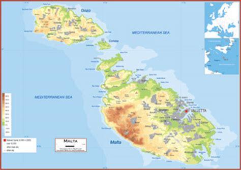 physical map of malta malta maps academia maps