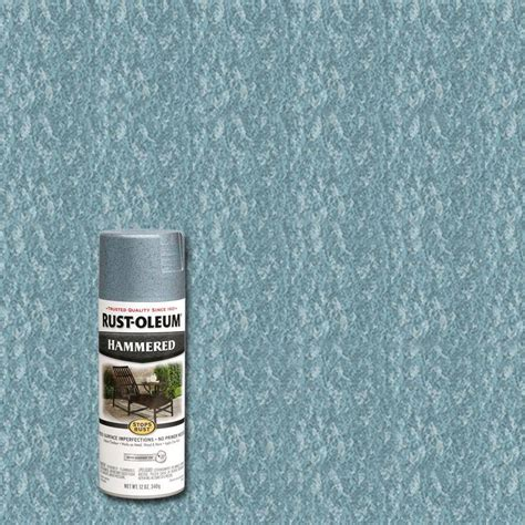 rust oleum stops rust 12 oz protective enamel light blue hammered spray paint 6 pack 7212830