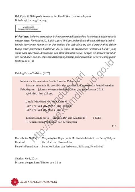 Buku Akademik bahasa indonesia ekspresi diri dan akademik buku guru