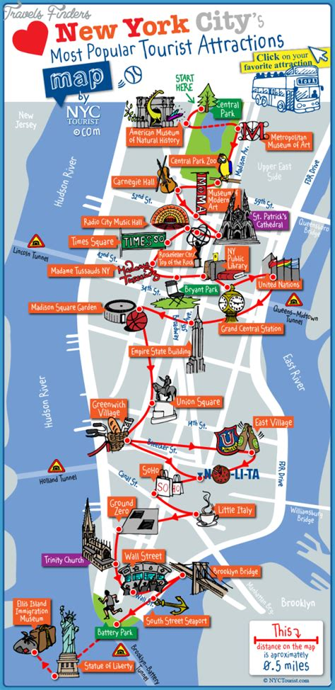 map of with landmarks new york map landmarks travelsfinders