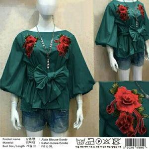 Baju Abila Bordir Blouse Bangkok Bordir baju atasan wanita blouse bordir tali ikat modis model