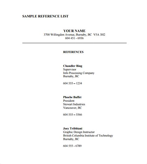 reference page template sle reference list template 5 free documents