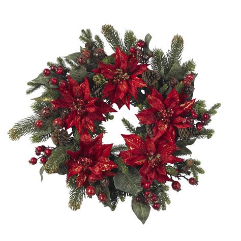 24 inch poinsettia and berry wreath 4919 nearly natural