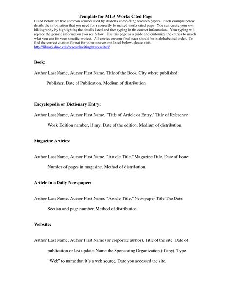 mla format work cited template mla citation template template for mla works cited page
