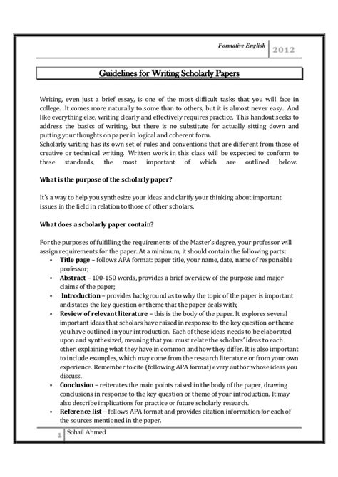 Scholarly Analysis Essay by Guidelines For Writing Scholarly Paper By Sohail Ahmed