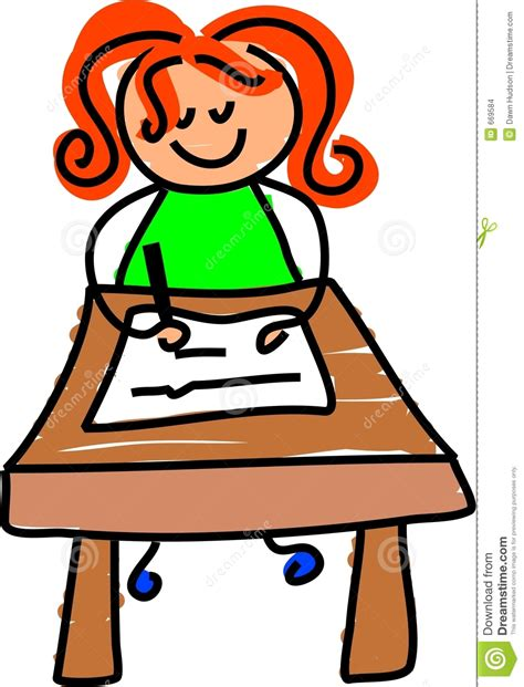 Kid At Desk Child Writing At Desk Clipart Clipartxtras