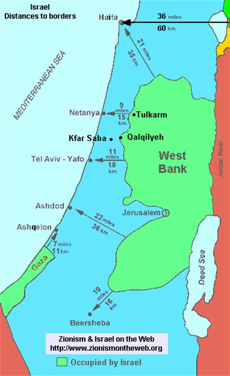 is west bank part of israel map of israel distances and size the security problem
