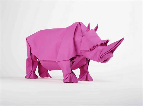 How To Make Origami Rhino - origami rhino unfolding mabona origami x stoptrick the