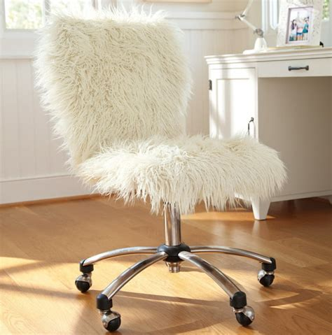 fluffy white desk chair home design ideas