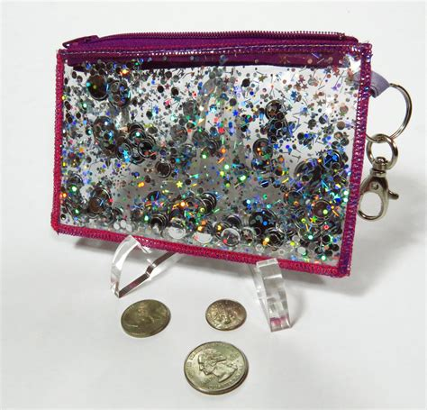 hologram coin purse holographic glitter coin purse wallet keychain zip id in