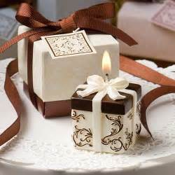 Favor Gifts ivory and brown gift box collection candle favor wedding