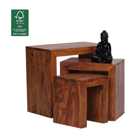 Wohnzimmermöbel Holz Massiv by Finebuy 3er Set Satztisch Massiv Holz Sheesham Wohnzimmer
