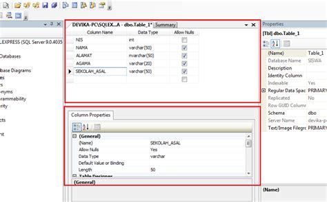 query membuat tabel sql cara membuat tabel dengan sql server management studio