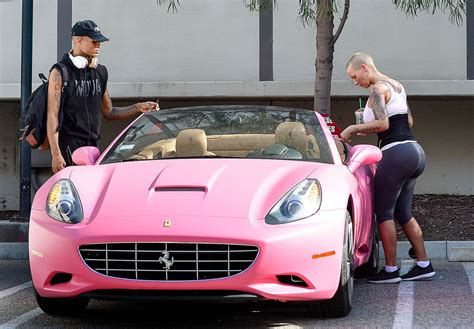 ferrari rose amber rose takes her pink ferrari to a gym in los angeles