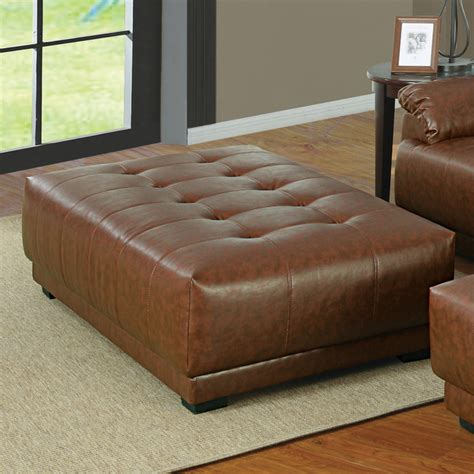 Acme Orian Bonded Leather Match Ottoman Brown Light Brown Leather Ottoman