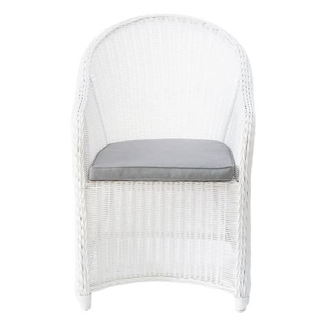 white rattan armchair wicker garden armchair in white mykonos maisons du monde