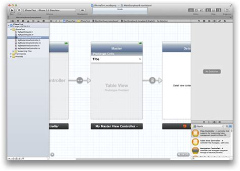 xcode tutorial master detail application creating and configuring a table view
