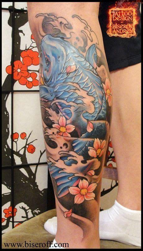 koi fish thigh tattoo asian koi fish design on leg samurai