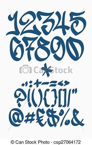 numbers  symbols graffiti font hand written