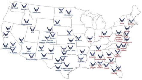 map usaf bases air bases state side us air 1983 2011