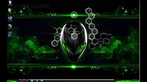 alienware themes for windows 7 green toxic green alienware windows 7 theme youtube