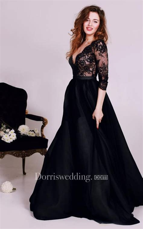 Y Black Lace Appliques V Neck  Evening Dress