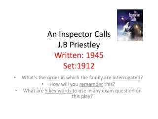 themes in an inspector calls powerpoint ppt an inspector calls by j b priestley powerpoint