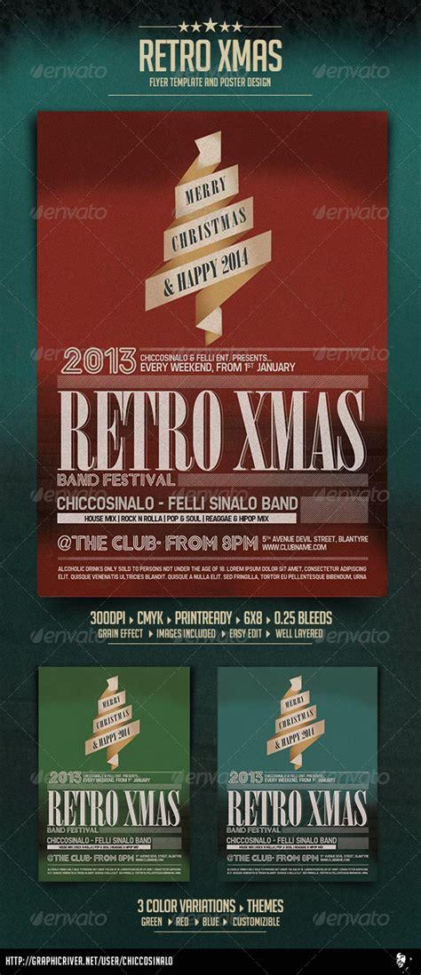 Retro Christmas Flyer Template By Chiccosinalo Graphicriver Graphicriver Event Flyer Template