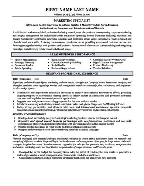 Marketing Specialist Resume by Marketing Specialist Resume Template Premium Resume