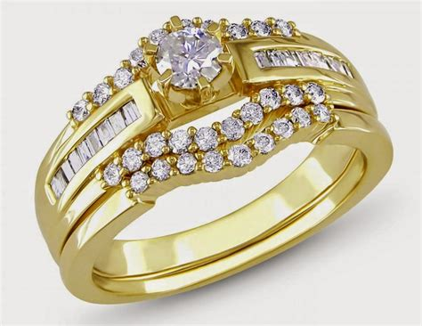 yellow gold princess cut wedding ring sets for