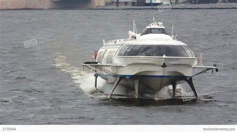 hydrofoil boat meteor meteor hydrofoil boat on neva river in st peter stock