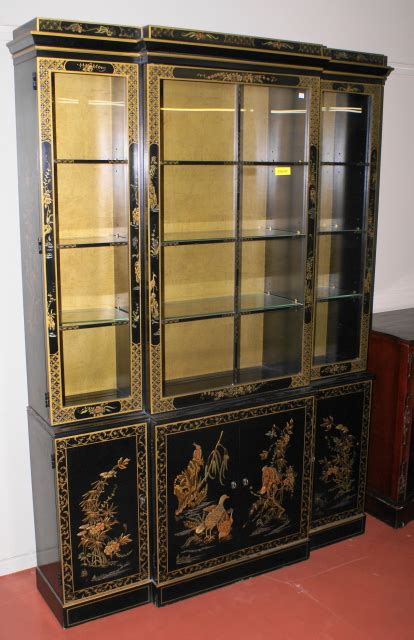 Mint clean beautiful Asian breakfront china cabinet For Sale   Antiques.com   Classifieds